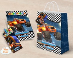 Kit colorir giz sacola Blaze and the monster machines