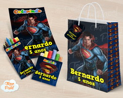 Kit colorir giz massinha e sacola Super Man