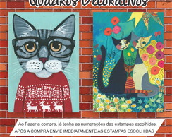 Quadro Decorativo De Gatos Cat 40x30