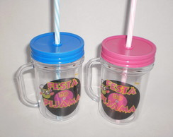 Caneca Mason Jar de 400ml - Festa do Pijama
