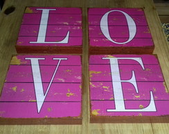 Kit 4 Quadros Tela LOVE Colours