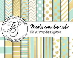 KIT PAPEL DIGITAL - MENTA COM DOURADO