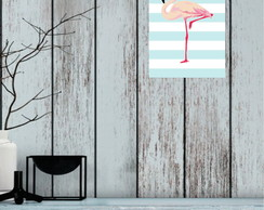 quadro decorativo flamingo