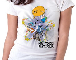 Blusa feminina baby look camiseta Cartoon Network personagen