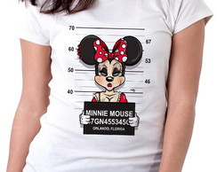 Blusa feminina baby look camiseta Minnie mouse disney presa