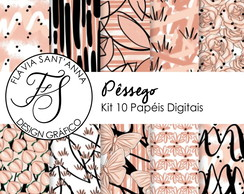 KIT PAPEL DIGITAL - PÊSSEGO