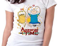 ... Blusa feminina baby look camiseta Hora da Aventura corações 7506cf3d4b7