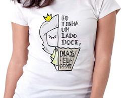 ... Blusa feminina baby look camiseta Lado doce comi cupcake 7b684661818
