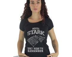 Camiseta Feminina Game Of Thrones House Stark Jon Snow Arya