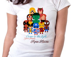 Blusa feminina baby look camiseta Super Heroes come to Figth
