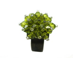 Anel de Crystal Bouquet Flower Olivine