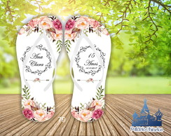 CHINELO 15 ANOS PERSONALIZADO - FLORAL