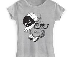 ... Camiseta Baby Look Pitbull - Cachorro de Boné e Óculos 239bc0ace4