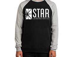 Blusa Moletom Raglan The Flash Star Laboratories Seriado