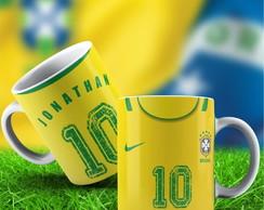 c654ff955c ... Caneca Seleção Brasileira Amarela com seu Nome