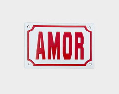 "Placa Decorativa ""AMOR"" Vermelha 10x15"