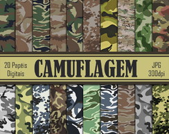 S0004 Camuflagem Papeis Digitais - Kit Scrapbook Digital