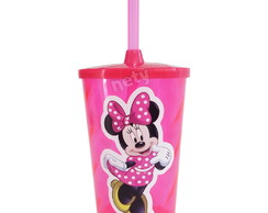 Copo twister Minnie Rosa com tampa e canudo 500ml twister
