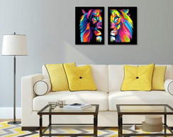 CONJUNTO QUADROS DECORATIVOS LEÃO MODERNO POP-ART A4