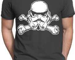 Camiseta Cinza Geek Star Wars Stormtrooper Darth Vader