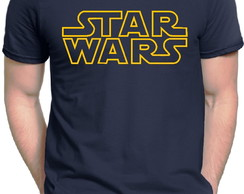 Camiseta Azul Star Wars Logo Stormtrooper Darth Vader