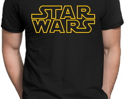 Camiseta Preta Star Wars Logo Stormtrooper Darth Vader