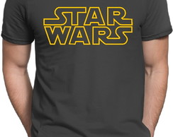 Camiseta Cinza Star Wars Logo Stormtrooper Darth Vader