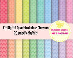 Kit Digital Quadriculado e Chevron