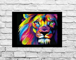 Quadros Decorativos Colorful Lion