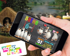 Convite Arte Digital Festa Pinguins de Madagascar