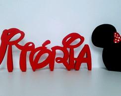 ... Nome em MDF Decorativo Disney Com Carinha da Minnie VITÓRIA 2c4e7d277d418
