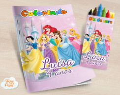 Kit colorir com giz de cera Princesas Disney