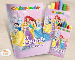 Kit colorir giz massinha Princesas Disney
