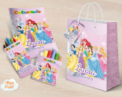 Kit colorir giz massinha e sacola Princesas Disney