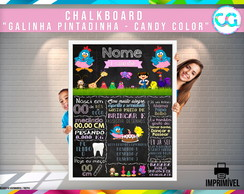 Chalkboard Galinha Pintadinha - Candy Color - Arte Digital