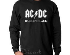 Camiseta Manga Longa AC/DC Banda de Rock Back in Black
