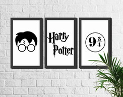 Kit 3 Quadros Decorativos Filme Harry Potter