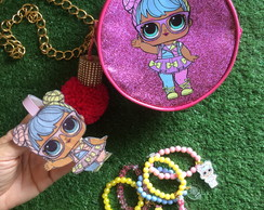 KIT LOL Bon Bon Bolsa + Mix Pulseiras + Tiara by Vic
