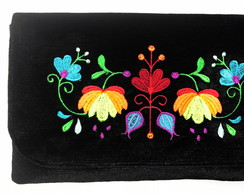 Clutch com Bordado Floral LJ1b