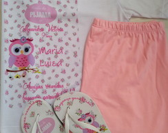 Kit festa do pijama (pijama+chinelos+higiene bucal)