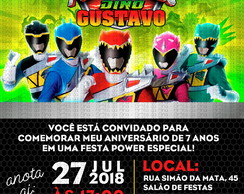 Convite Power Rangers Dino Charge - SOMENTE DIGITAL