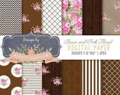 Papel Digital Floral Rosa e Marrom
