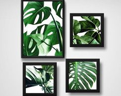 4 Quadros Decorativos Wall Folhas Costela Sala Home Office