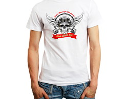 Camiseta Skull and Piston Caveira Masculina