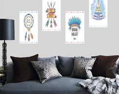 Placa Quadro Decorativa - Kit com 4 Placas -Boho