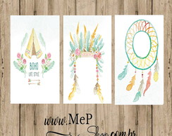 Placa Quadro Decorativa - Kit com 3 Placas -Boho