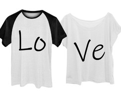 Kit Camiseta + Babylook Love Casal Namorados Plus Size
