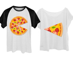 Kit Camiseta + Babylook Pizza Casal Namorados Plus Size