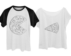 Kit Camiseta + Babylook Pizza PB Casal Namorados Plus Size