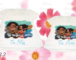 Kit 2 camisetas ou bata Divertidas Moana
